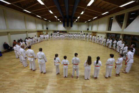 Aufstellung zum Angruß beim Karate-Training